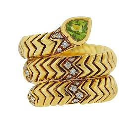Bvlgari Bulgari 18K Gold Diamond Peridot Snake Ring