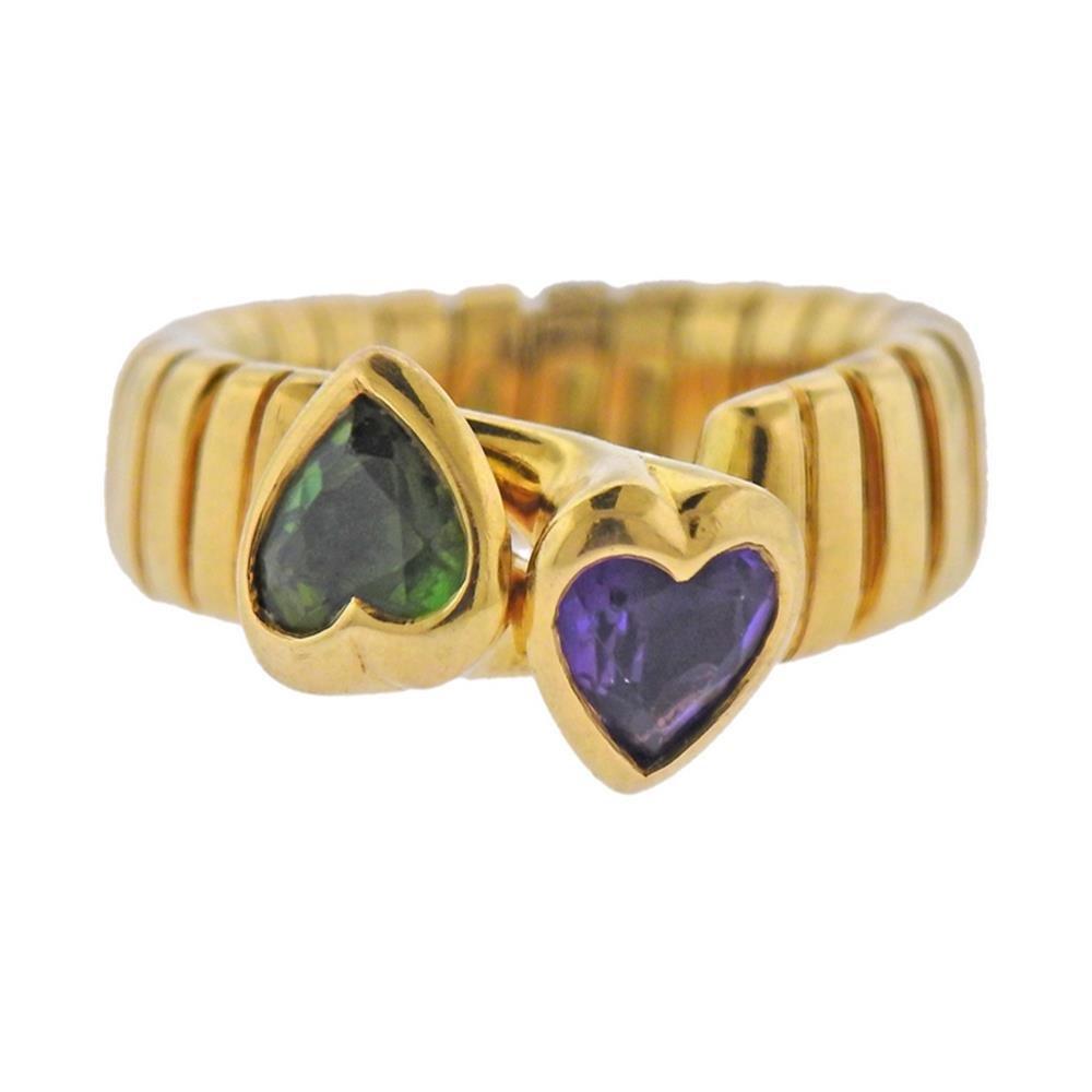 Bvlgari Bulgari Tubogas 18K Gold Peridot Amethyst Heart