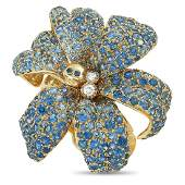 Gucci Flora 18K Yellow Gold Diamond and Sapphire Ring