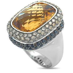 Roberto Coin 18K White Gold Diamonds, Citrine Ring