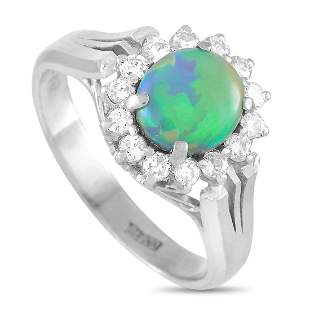 LB Exclusive Platinum 0.33 ct Diamond and Opal Ring
