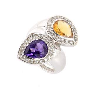 18K White Gold Amethyst  Citrine Diamond Ring Size 7.25
