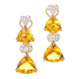 18K White Gold Diamond and Citrine Drop Earrings