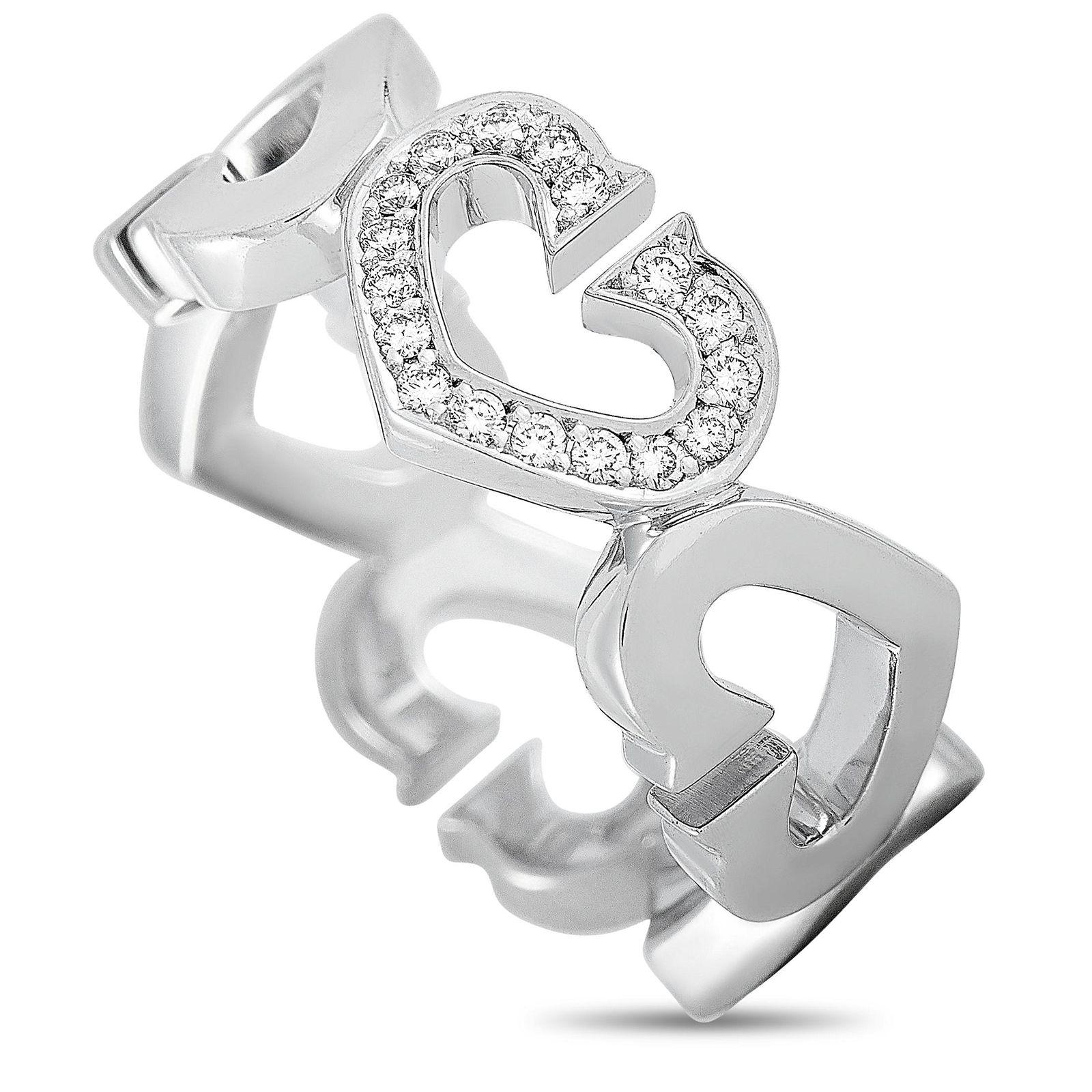 Cartier 18K WG Diamond Heart Ring Size 5.0