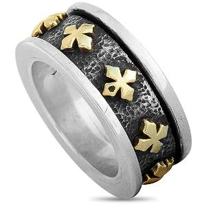King Baby 18K YG & Silver MB Crosses Spinner Ring - 9.0