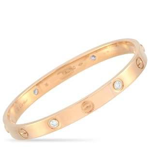 Cartier LOVE 18K RG 4 Diamond Bracelet & Screwdriver 16
