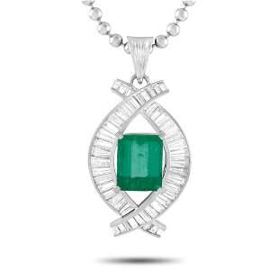 Platinum 2.44 ct Diamond and Emerald Pendant Necklace