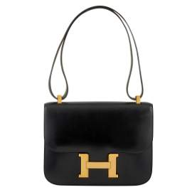 Hermes Constance 23cm Black Box Leather Handbag