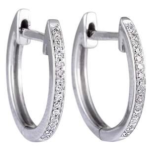 14K WG 0.05 ct Diamond Small Hoop Earrings