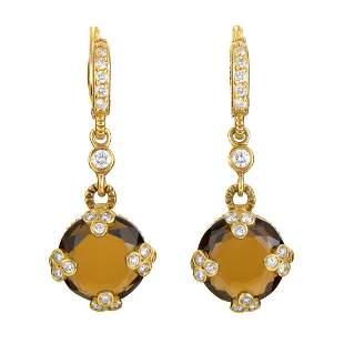 Judith Ripka 18K YG Diamond & Quartz Earrings