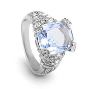 Judith Ripka 18K WG Diamond & Quartz Ring - 10.0