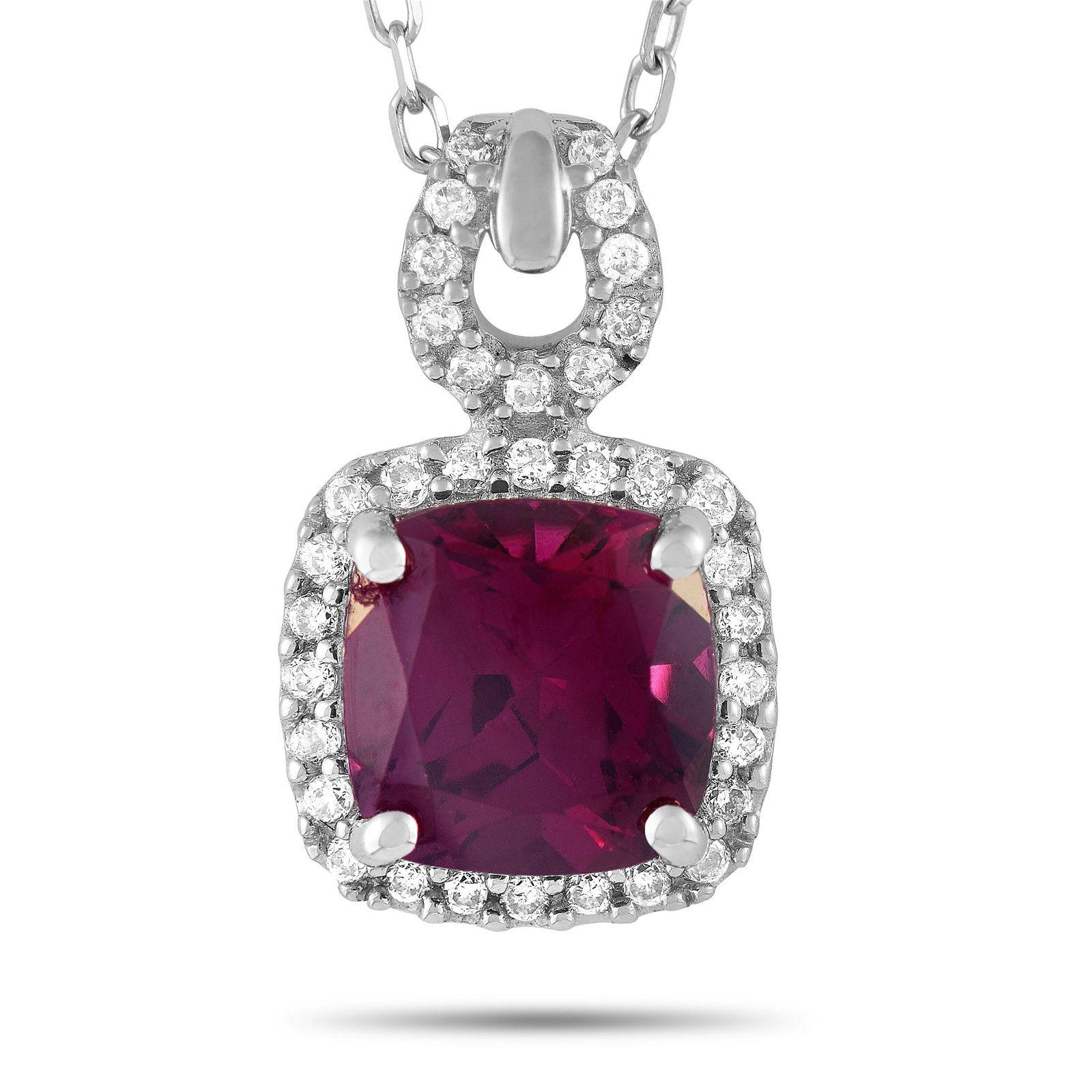 14K WG 0.12 ct Diamond / Rhodolite Garnet Pendant