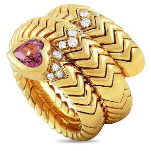Bvlgari Spiga Serpent 18K YG Diamond Ring - Size 9.0