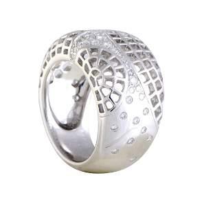 Cartier 18K WG Diamond Wide Mesh Band Ring Size 6.75