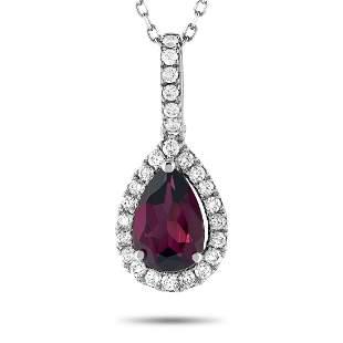 14K WG 0.33 ct Diamond / Rhodolite Garnet Pendant