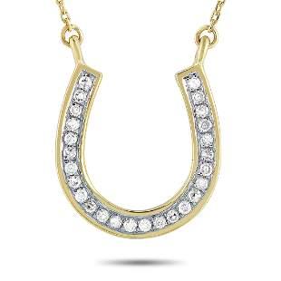 14K Yellow Gold 0.09 ct Diamond Horseshoe Pendant