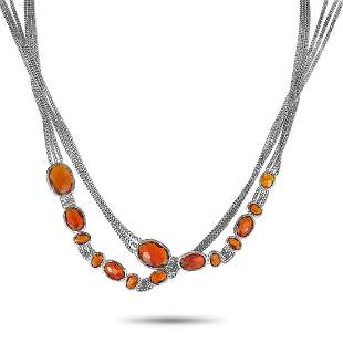 Gucci Raindrop Silver and Synthetic Orange Stone