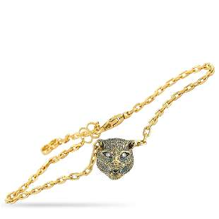 Gucci LMDM 18K YG Diamond, Jade Feline Motif Bracelet -