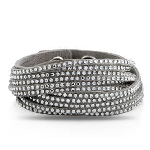 10 Pack - Swarovski Grey Suede Bracelet Size M
