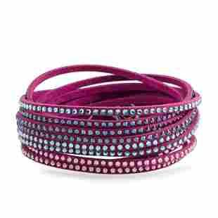 10 Pack - Swarovski Blue Suede Bracelet Size M