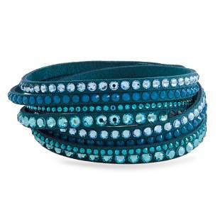 10 Pack - Swarovski Teal Suede Bracelet Size M