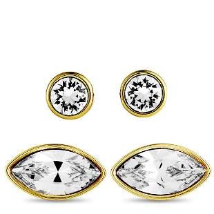3 Pack - Swarovski Gold Plated Crystal Earrings
