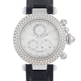 Cartier White Gold Pasha Chronograph 35mm Diamond Watch
