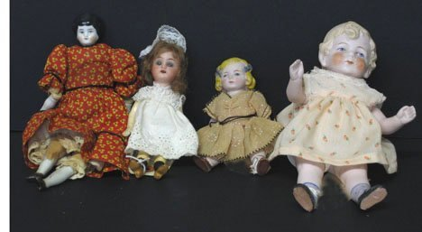 4002: Three Bisque and One China Head Doll, , The china