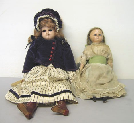 4013: Two piece Wax Over Composition Dolls, , The small