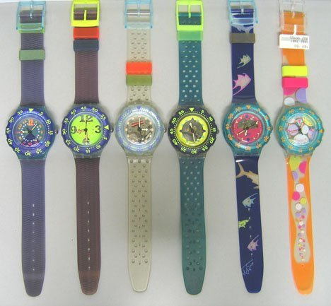 4242: Six Scuba Swatch Watches: Happy Fish (1991); Jell