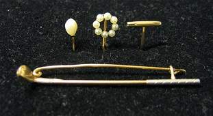 4342 Three Yellow Gold Stick Pins  Together with a y