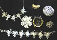 4354 Silver Filigree Jewelry Watch Movement and Faux