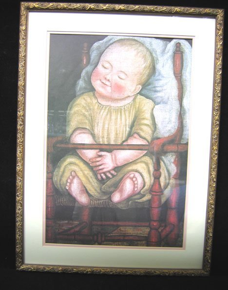 "4545: Gilt Framed Print  Baby in Red Chair "", , Copied"