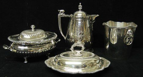 210A: Four piece Silverplate Holloware Serving Pieces,