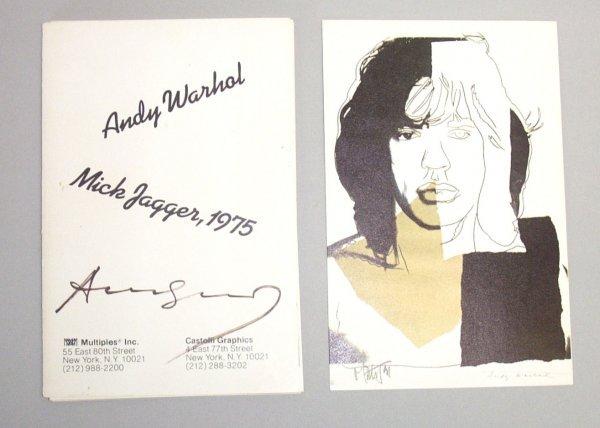 1014: 1 vol.  Warhol, Andy. Mick Jagger, 1975. New York