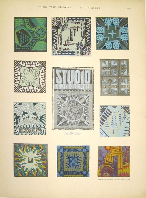 1019: 1 portfolio. Sorokine, Nicolas. Broderies-Tissus.