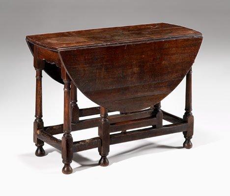 2007: Charles II oak gate-leg table, circa 1680, The ro
