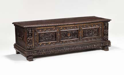 2015: Italian carved walnut cassone, late 17th/early 18