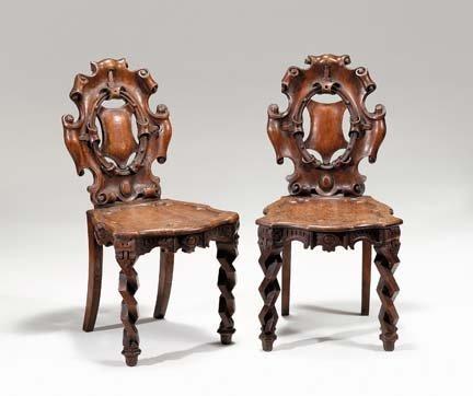2017: Pair of Victorian oak hall chairs, circa 1880, Th