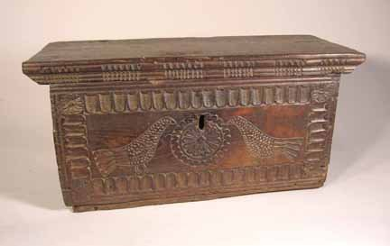 2018: Small Continental carved oak coffer, 17th century