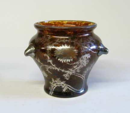 10647: Art Nouveau silver overlay glass jardiniere, lat