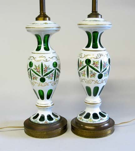 10648: Pair bohemian glass overlay lamps, late 19th / e