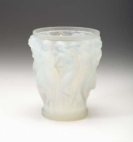 10652: Lalique opalescent 'Bacchantes' glass vase, desi