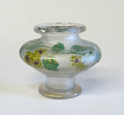 10655: St. Denis etched and enameled glass vase, 20th c