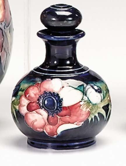10657: Moorcroft 'Anemone' scent bottle, , Of globular