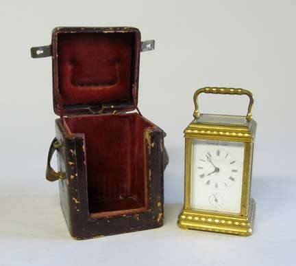 10666: French cased carriage clock, late 19th century,