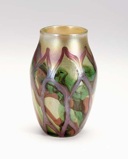 10677: Tiffany Favrile glass paperweight vase, early 20