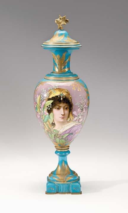 10806: Large Sevres style porcelain Art Nouveau vase, l