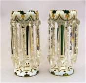 10949 Pair of Victorian white to green table lustres