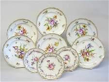 11101: Set of ten Meissen porcelain dinner plates & six